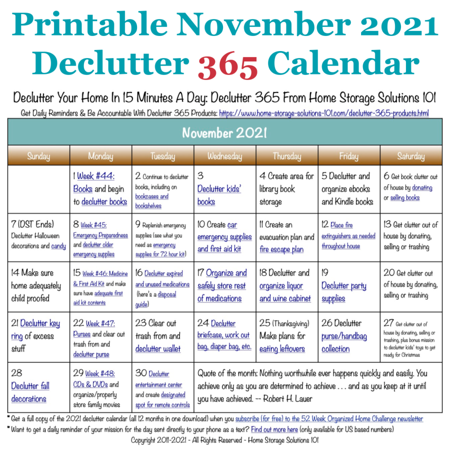 Free printable November 2021 #decluttering calendar with daily 15 minute missions. Follow the entire #Declutter365 plan provided by Home Storage Solutions 101 to #declutter your whole house in a year.