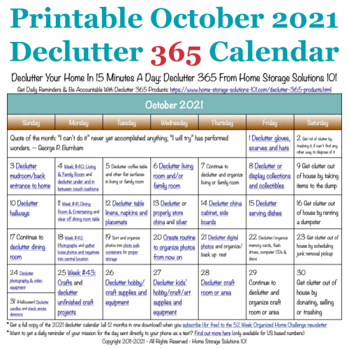 Free printable October 2021 #decluttering calendar with daily 15 minute missions. Follow the entire #Declutter365 plan provided by Home Storage Solutions 101 to #declutter your whole house in a year.
