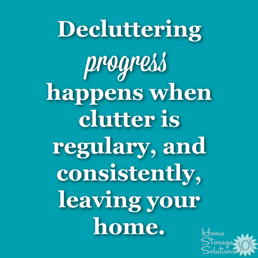 What decluttering progress looks like in your home: It happens when clutter is regularly, and consistently, leaving your home {on Home Storage Solutions 101} #Declutter365