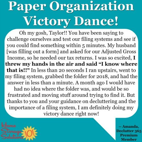 Amanda's paper organization victory dance using the 52 Week Organized Home Challenge and Declutter 365 missions {on Home Storage Solutions 101}