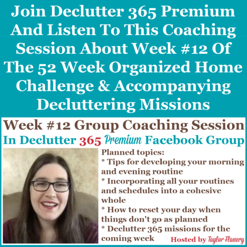Join Declutter 365 premium and listen to this coaching session about Week #12 of the 52 Week Organized Home Challenge and accompanying decluttering missions, about creating a morning and evening routine, as well as about decluttering and organizing other areas of your home {on Home Storage Solutions 101}