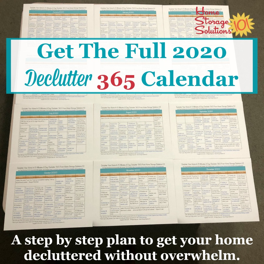 Get the full 2020 Declutter 365 calendar, a step by step plan to get your home decluttered without overwhelm {on Home Storage Solutions 101} #Declutter365 #DeclutteringHome #DeclutterTips