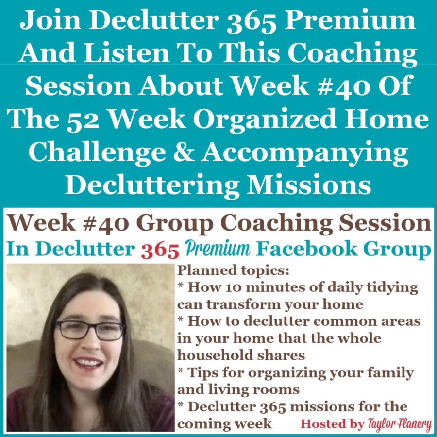 Join Declutter 365 Premium and listen to this coaching session about Week #40 of the 52 Week Organized Home Challenge and accompanying decluttering missions, with a discussion of decluttering and organizing your living and family rooms {on Home Storage Solutions 101}