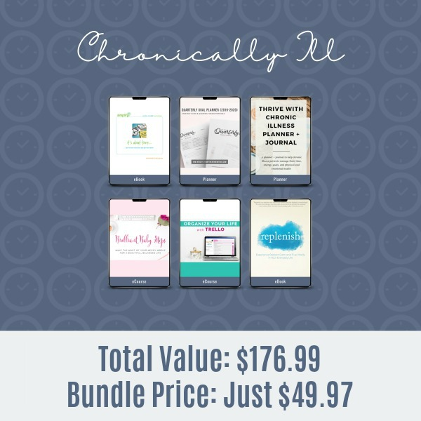 Resources included in the 2019 Ultimate Productivity Bundle for the chronically ill
