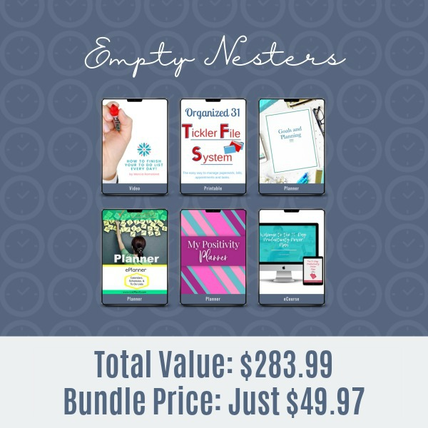 Resources included in the 2019 Ultimate Productivity Bundle for empty nesters
