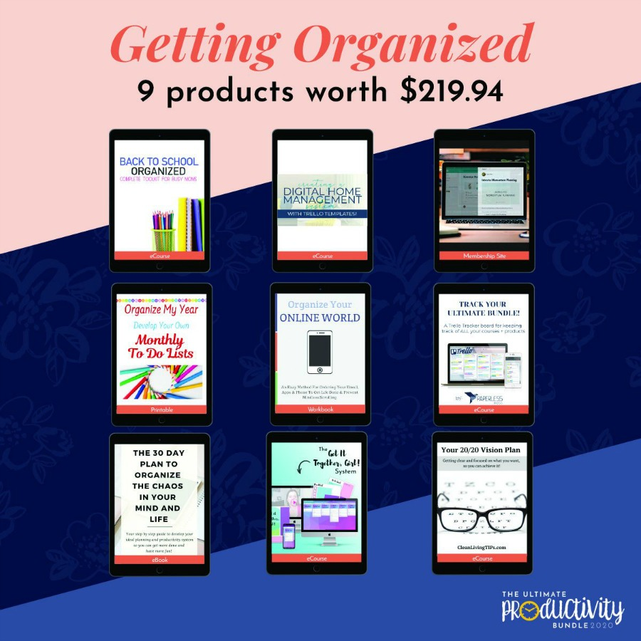 Resources included in the 2020 Ultimate Productivity Bundle to help you get organized
