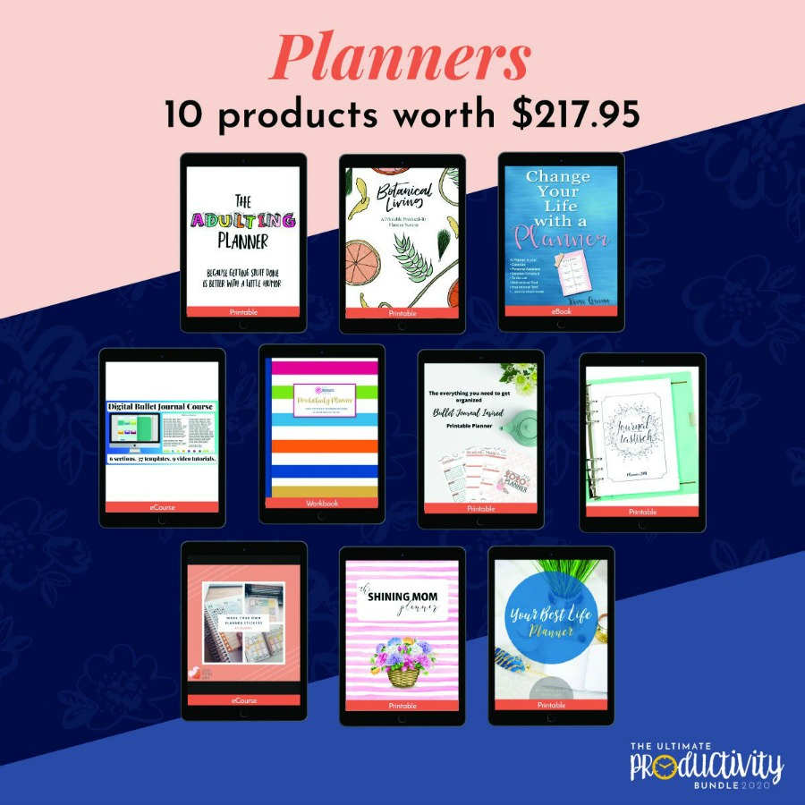 Planners included in the 2020 Ultimate Productivity Bundle