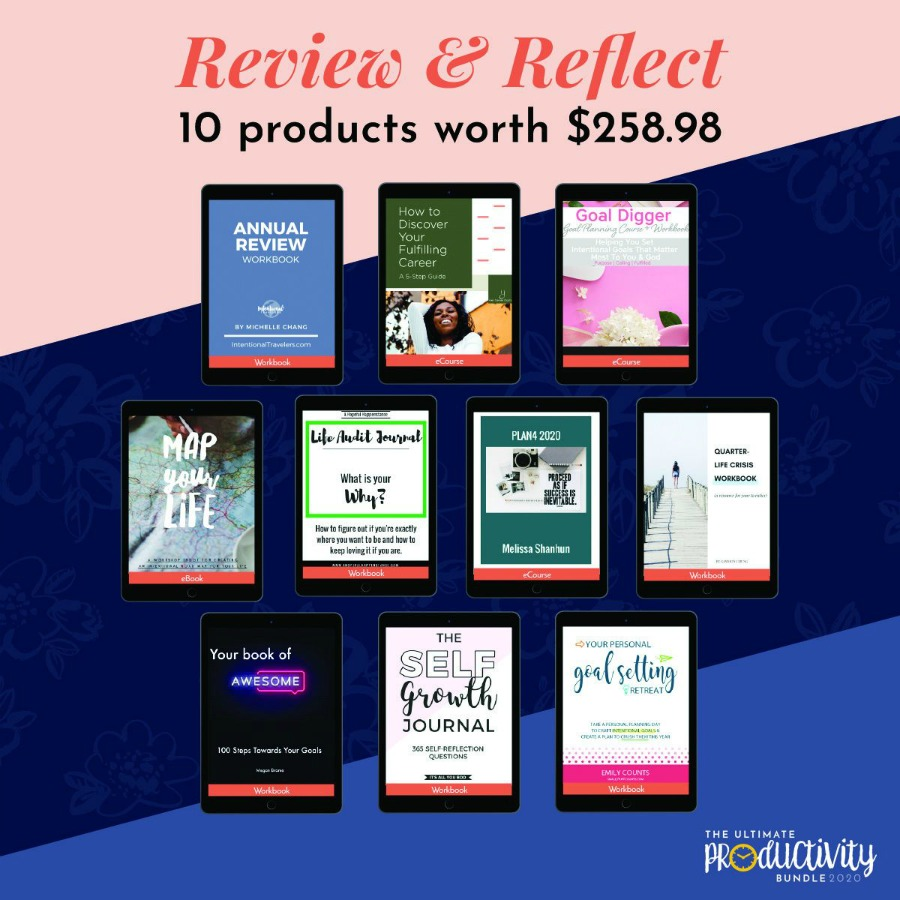 Resources included in the 2020 Ultimate Productivity Bundle about review and reflection