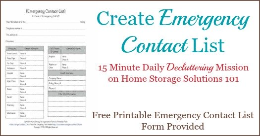 Free Printable Emergency Contact List Form