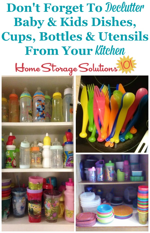 Don't forget, when decluttering outgrown baby and kids stuff, to check your kitchen to declutter baby and kids dishes, cups, bottles, and utensils {on Home Storage Solutions 101} #DeclutterKitchen #KidsClutter #KitchenClutter