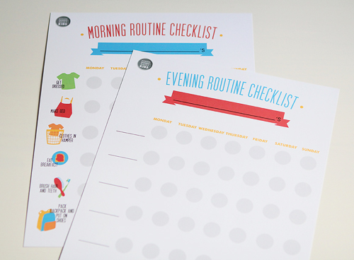 morning and evening routine checklists