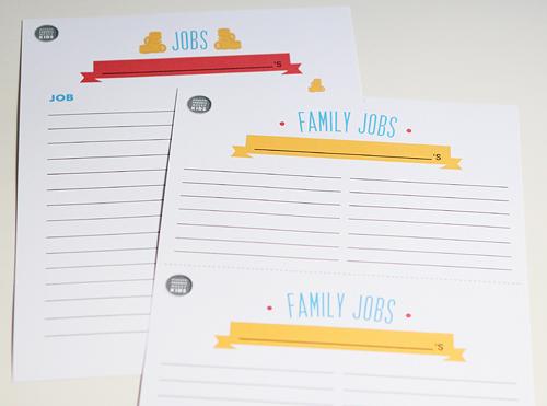 family and earning job charts