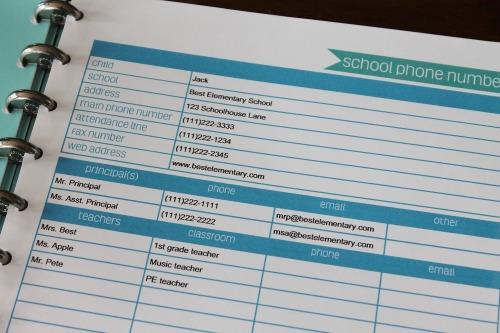 school phone number printable