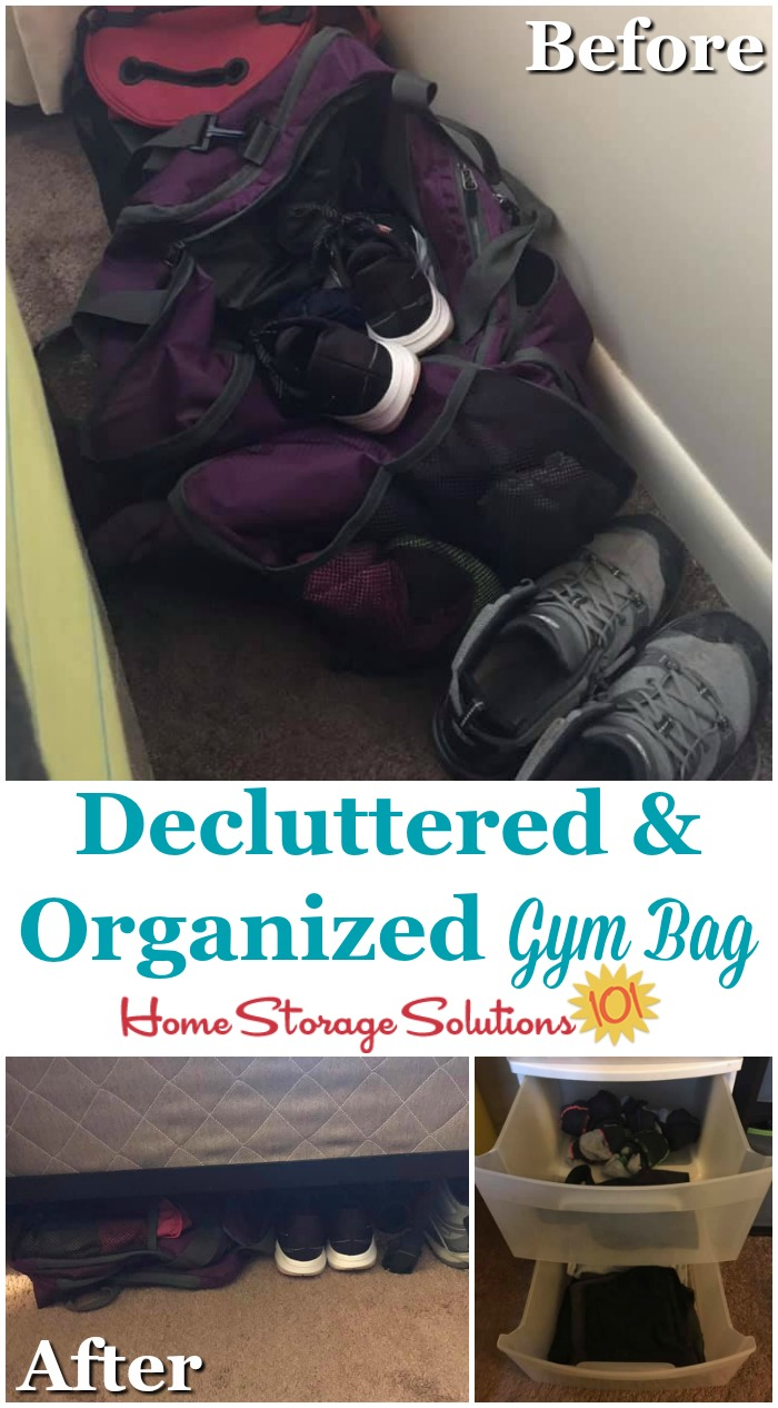 Before and after of decluttered and organized gym bag {on Home Storage Solutions 101}