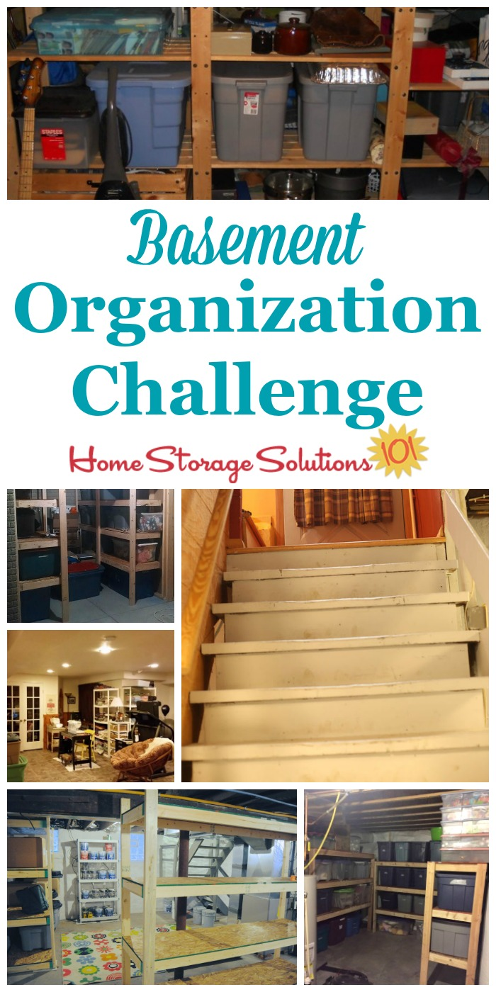 Step by step instructions for basement organization, including using zones to help organize the space {part of the 52 Week Organized Home Challenge on Home Storage Solutions 101} #BasementOrganization #OrganizedHome #BasementStorage