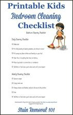 Printable kids bedroom cleaning checklist {on Stain Removal 101}