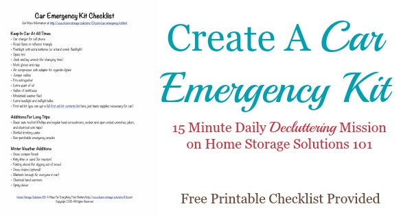 #Declutter365 mission to create a car emergency kit, to make sure you and your family and prepared when taking long or short road trips, Includes a free printable checklist. #CarEmergencyKit #EmergencyPreparedness