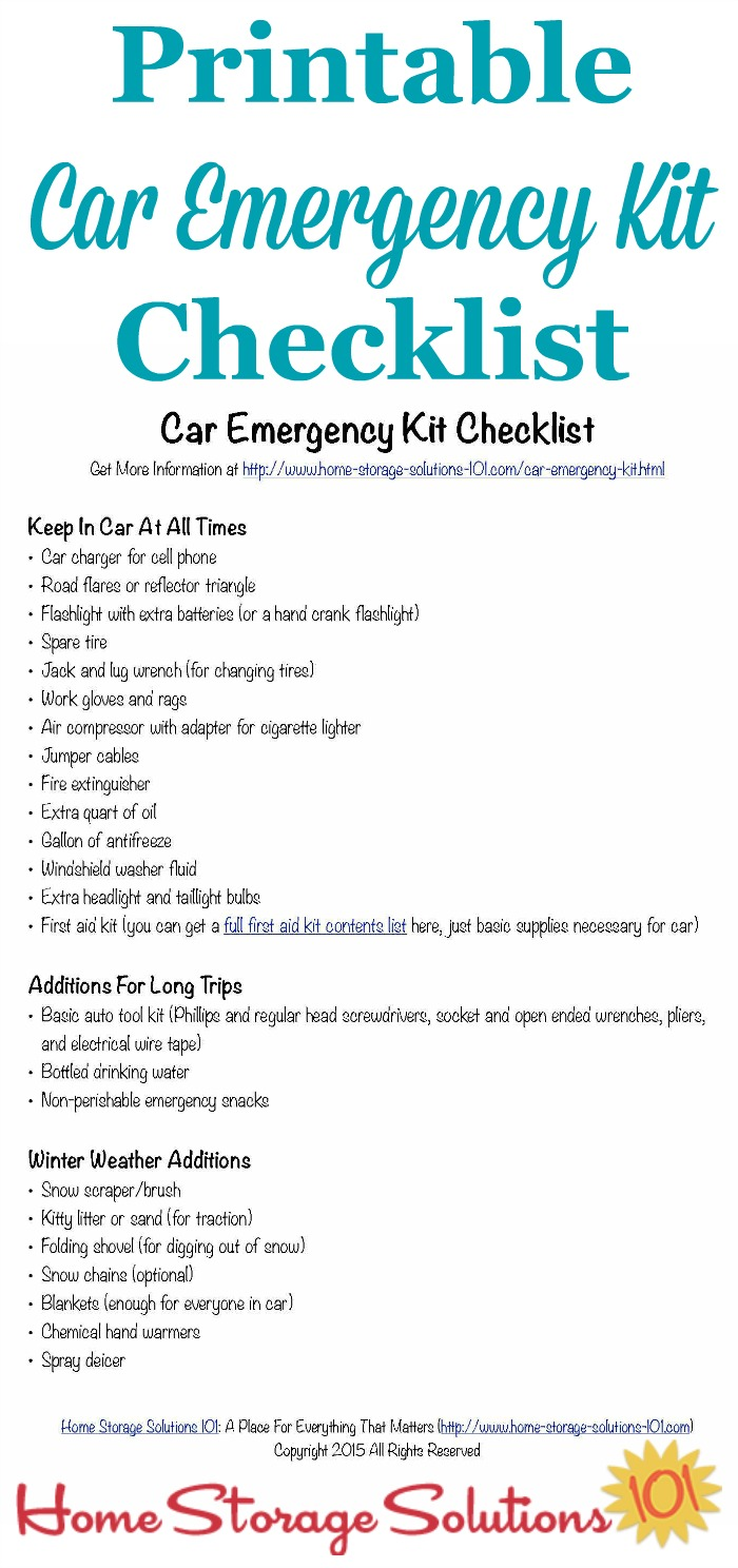Car Emergency Kit List