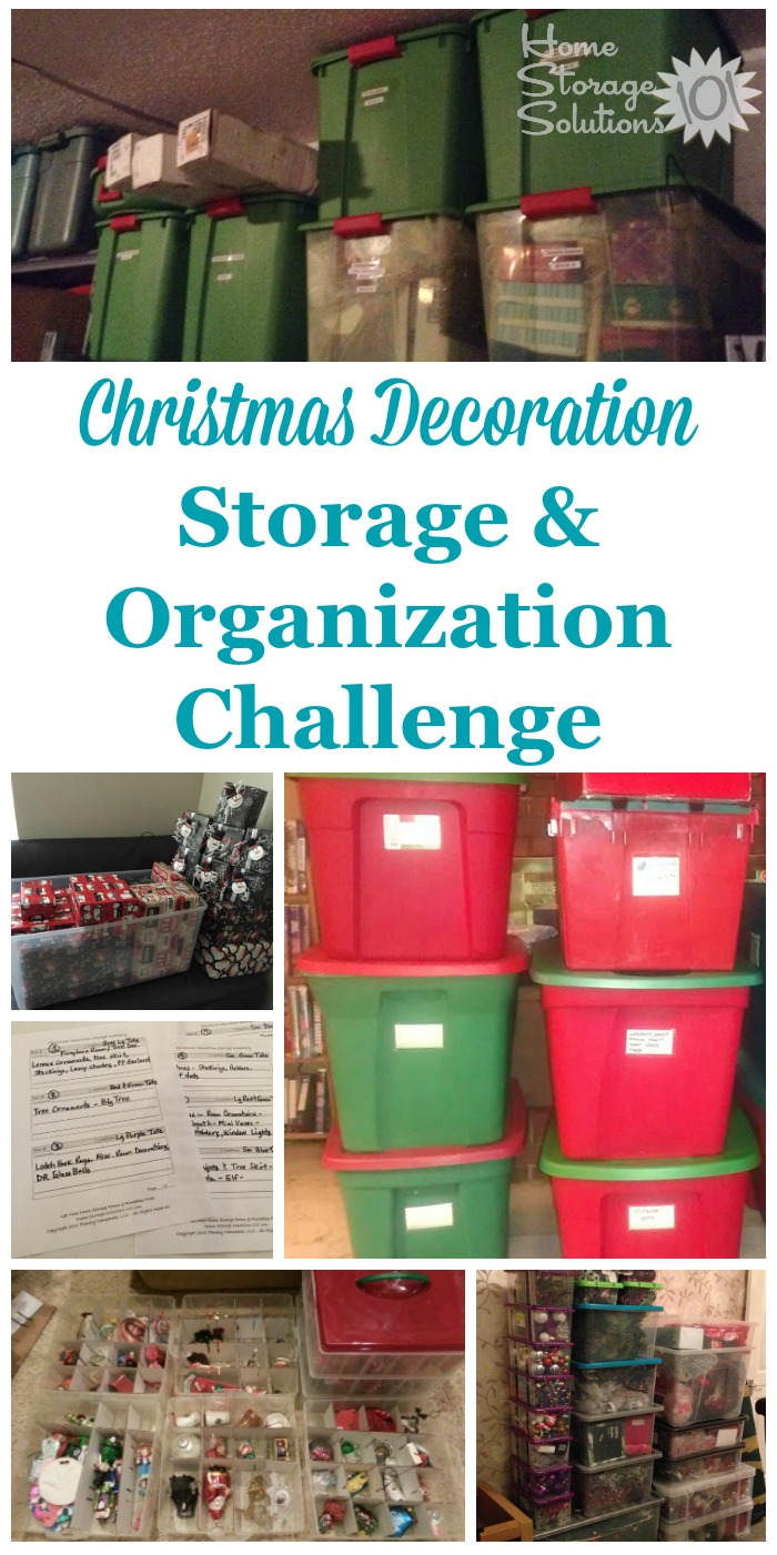 Here are step by step instructions for Christmas decoration storage and organization in your home, as well as for organizing other holiday decorations as well {part of the 52 Week Organized Home Challenge on Home Storage Solutions 101} #ChristmasOrganizing #OrganizedHome #HolidayOrganization