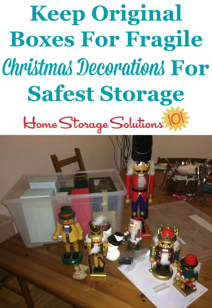 Storage tips for Christmas ornaments and other holiday decorations, including for fragile ones {on Home Storage Solutions 101} #HolidayStorage #ChristmasStorage #OrnamentStorage
