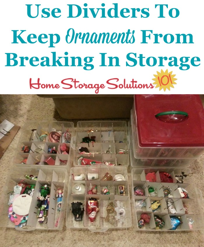 Tips for how to store Christmas ornaments so they don't break, including using dividers between the ornaments {on Home Storage Solutions 101} #HolidayStorage #ChristmasStorage #OrnamentStorage