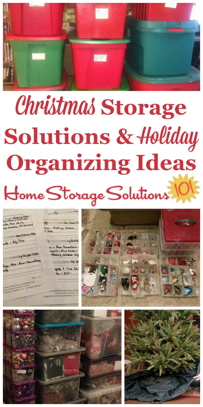 If you love to decorate and go all out for the holidays here are Christmas storage solutions to help you organize all the wrapping paper, ornaments, lights, decorations and even the tree from year to year {on Home Storage Solutions 101} #ChristmasStorage #HolidayStorage #ChristmasOrganizing