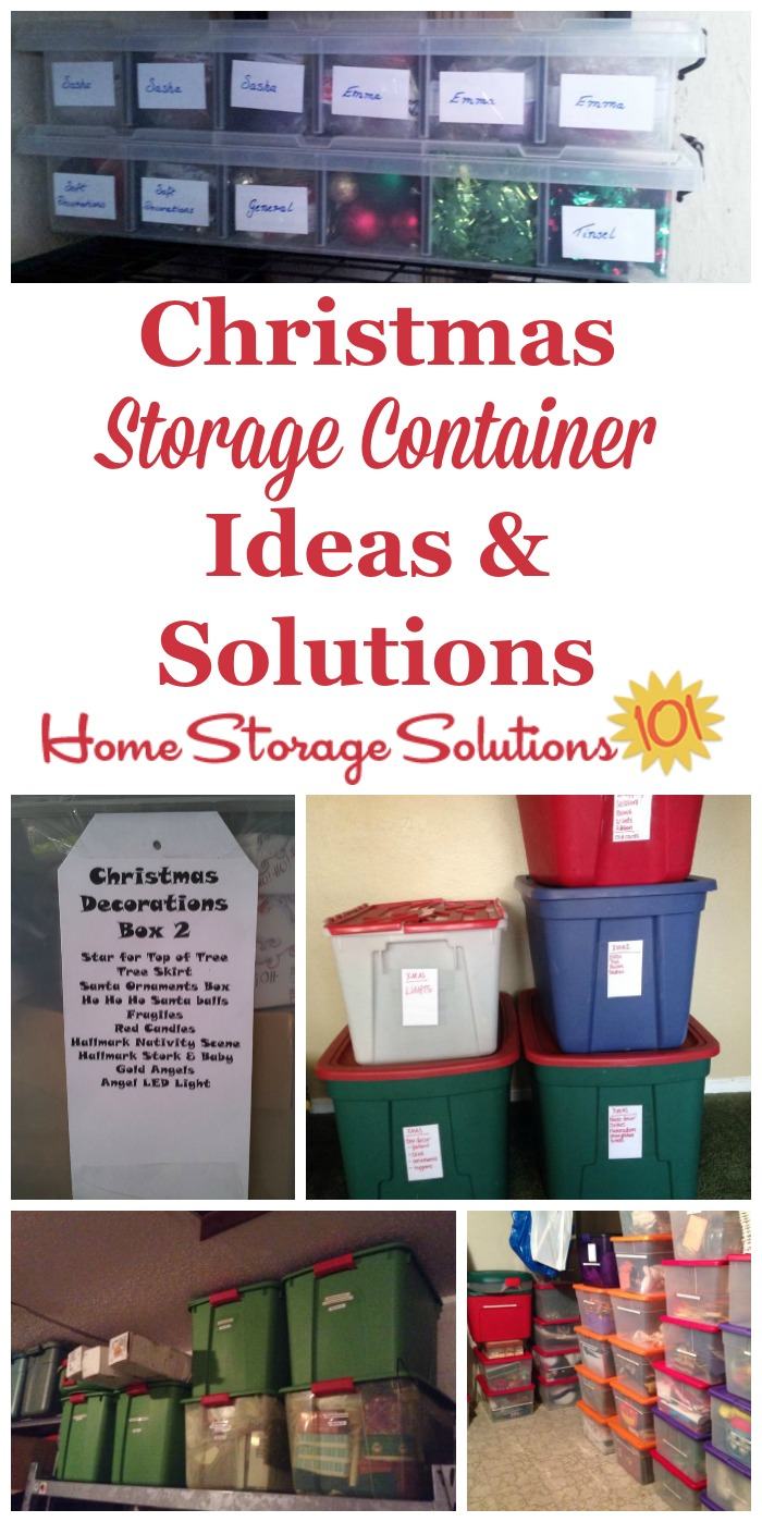 Christmas storage containers can be used to hold holiday decorations, lights, ornaments, garland, and all the other paraphanalia you get out around Christmas time to celebrate the season. Here are ideas for what types of containers to get, and why {on Home Storage Solutions 101} #ChristmasStorage #ChristmasOrganization #ChristmasOrganizing