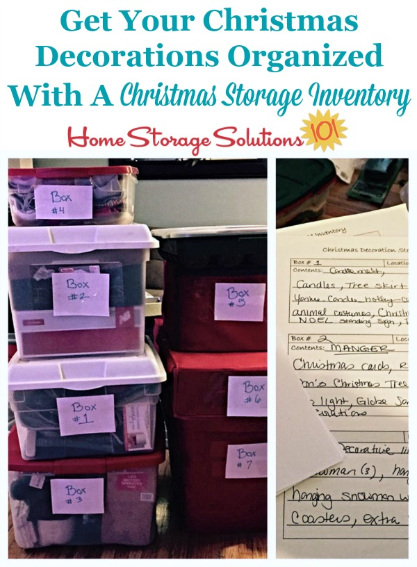 How to get your Christmas decorations organized with a Christmas storage inventory form {includes free printable} {on Home Storage Solutions 101} #ChristmasStorage #ChristmasOrganization #FreePrintable
