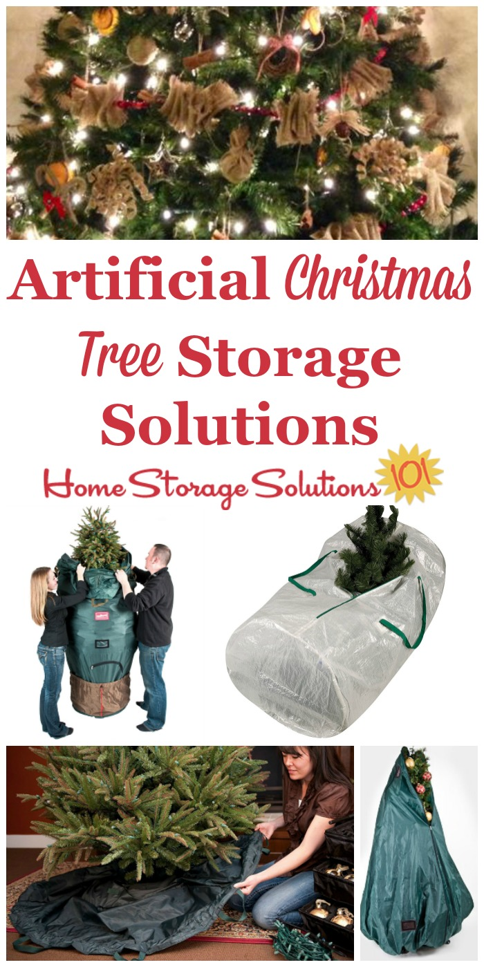 Here are ideas and tips for artificial Christmas tree storage in your home, taking into account how large these trees are, and how hard they are to take down and put up each season {on Home Storage Solutions 101} #HolidayStorage #ChristmasStorage #ChristmasTreeStorage