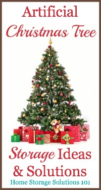 Ideas and tips for artificial Christmas tree storage in your home, taking into account how large these trees are, and how hard they are to take down and put up each season {on Home Storage Solutions 101} #ChristmasStorage #HolidayStorage #ChristmasTreeStorage