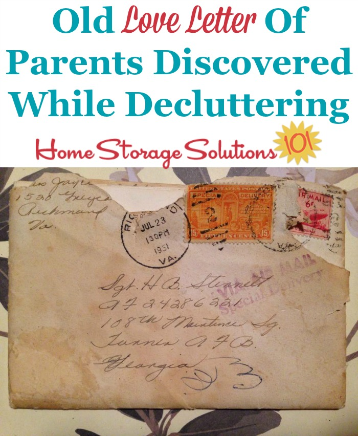 Old love letter of parents discovered when doing the #Declutter365 missions {on Home Storage Solutions 101} #Decluttering #Declutter