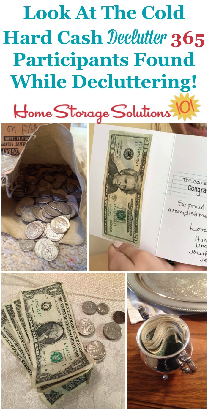 Clearing out #clutter has some side benefits, including that you can find cash all kinds of places in your home, like these #Declutter365 participants {on Home Storage Solutions 101} #Decluttering