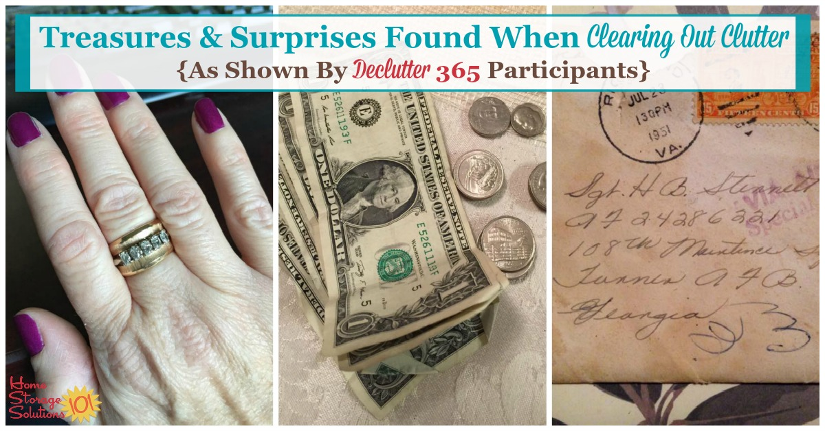 Sometimes when you #declutter you get surprised, in a good way, with what you find. Here are quite a few tales from those who found treasures while clearing out #clutter from their homes as part of the #Declutter365 missions {on Home Storage Solutions 101}