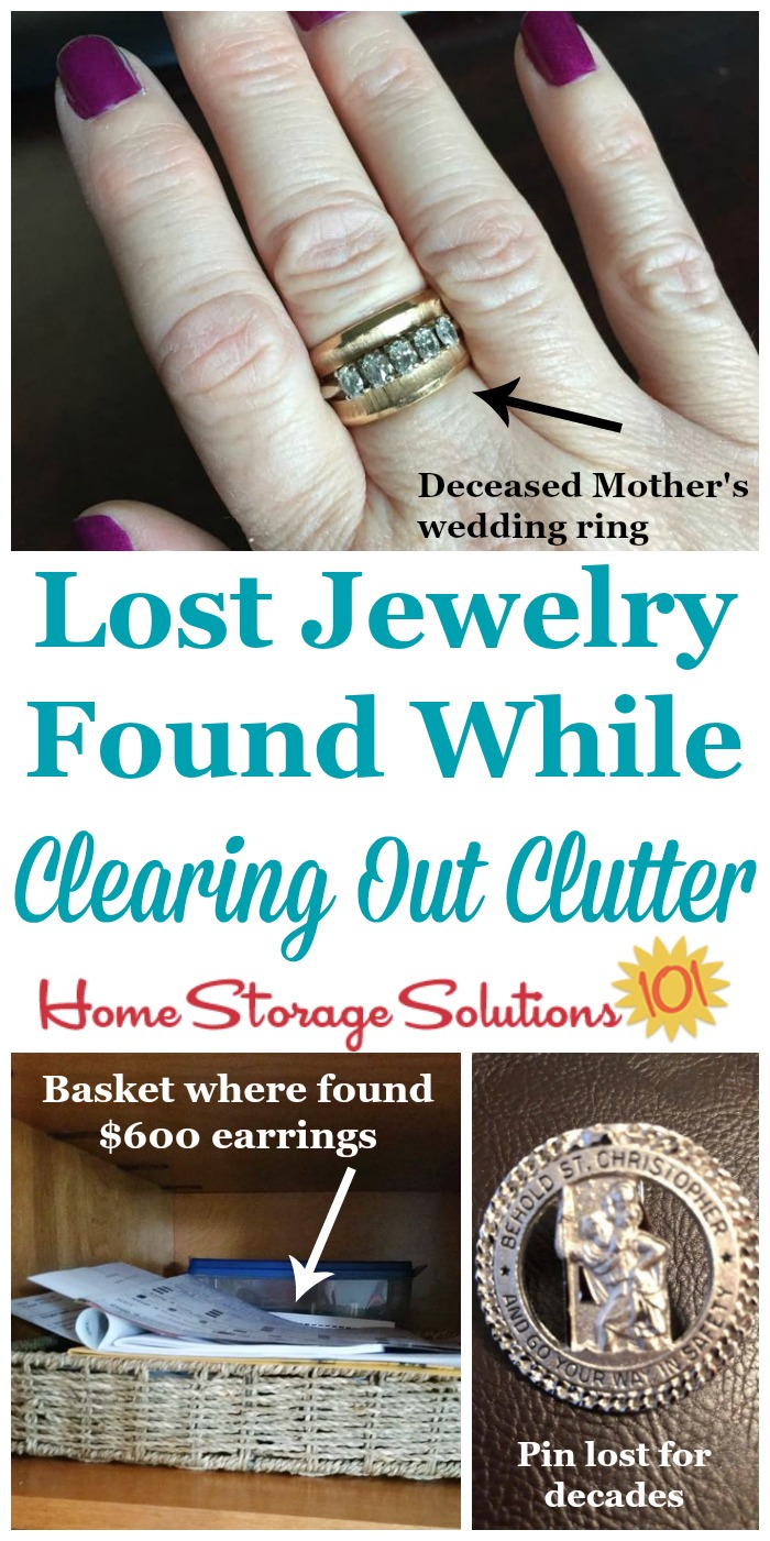 Jewelry is easy to misplace or lose, even inside your own home, and these people found long lost jewelry when doing the #Declutter365 missions in their home {on Home Storage Solutions 101} #Decluttering #JewelryOrganization