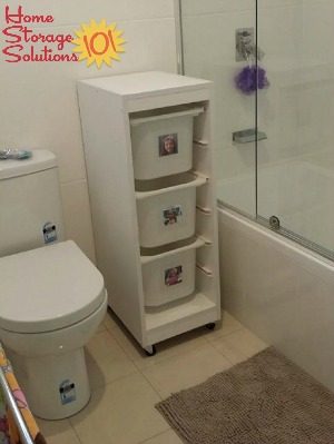 laundry sorter baskets in bathroom