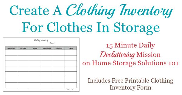 Create a clothing inventory for clothes in storage {#Declutter 365 mission on Home Storage Solutions 101}