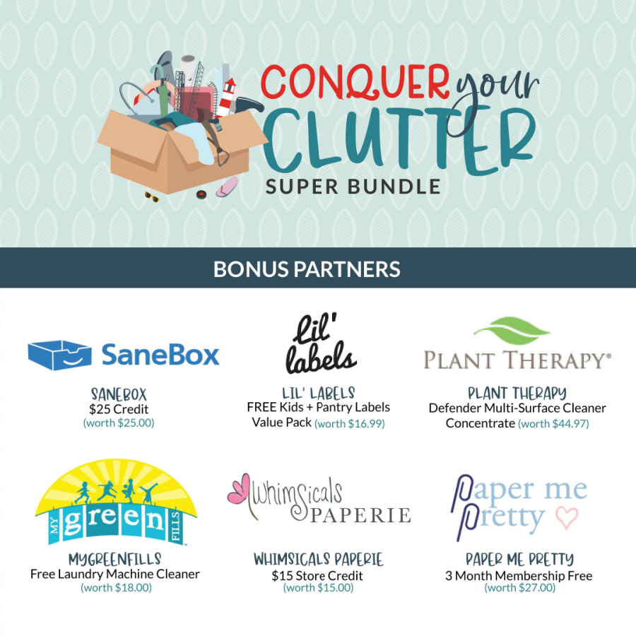 Bonus partners for the Conquer Your Clutter Super Bundle