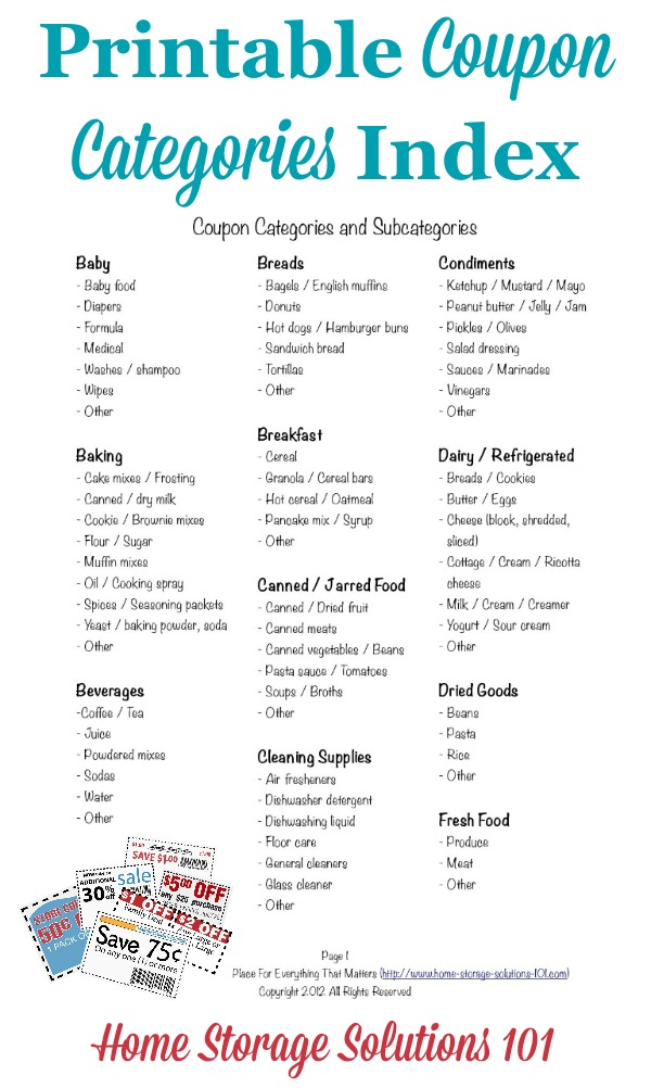 Free printable coupon categories index, which you can use in your coupon binder as table of contents {courtesy of Home Storage Solutions 101}
