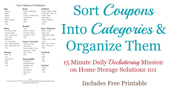 printable coupon binder categories list