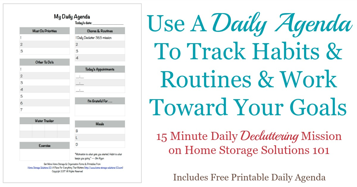 Printable Daily Agenda Way To Track Your Habits  Routines
