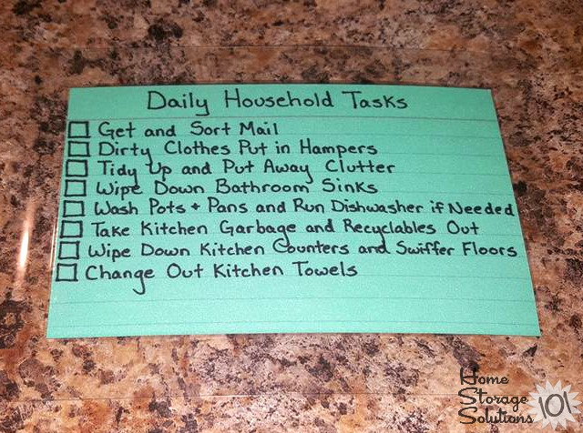 Example of a daily household tasks checklist created by a participant in the #Declutter365 missions, when working on the parts of the Create A House Cleaning Schedule Challenge {on Home Storage Solutions 101}