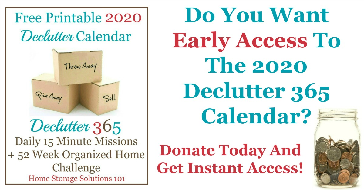Donate today for early access to the 2020 Declutter 365 calendar