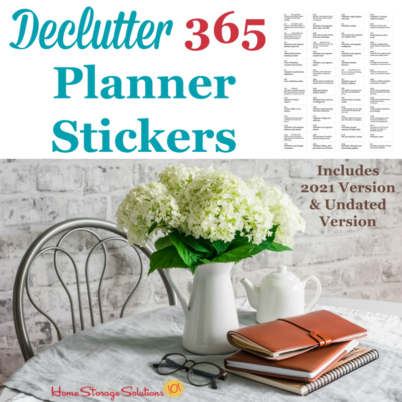 Declutter 365 planner stickers, including the 2021 version and the undated version