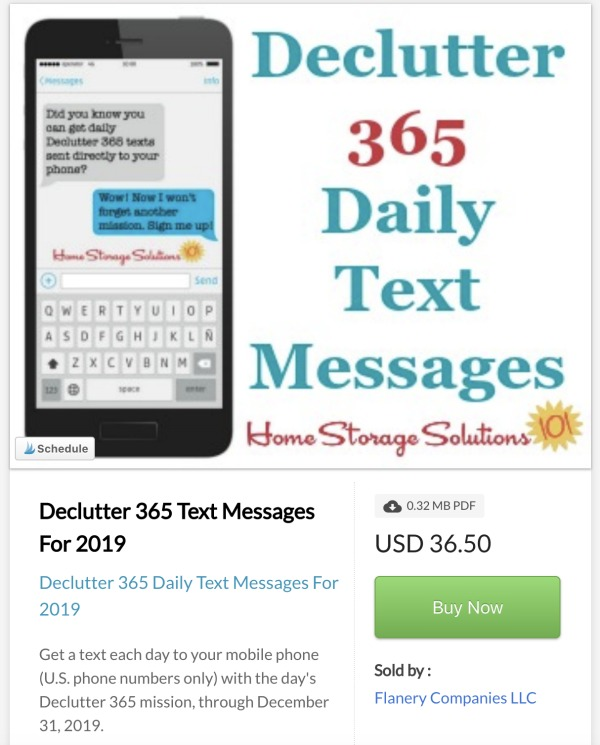 Click here to buy Declutter 365 daily text messages