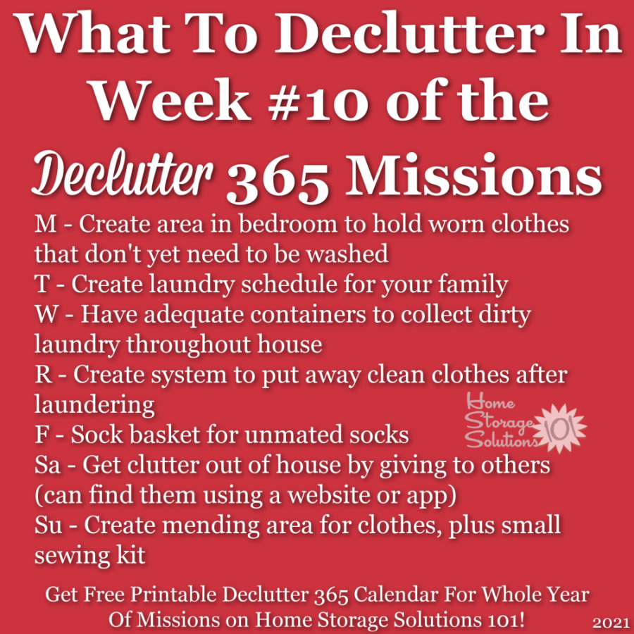 What to declutter in week #10 of the Declutter 365 missions {get a free printable Declutter 365 calendar for a whole year of missions on Home Storage Solutions 101!}