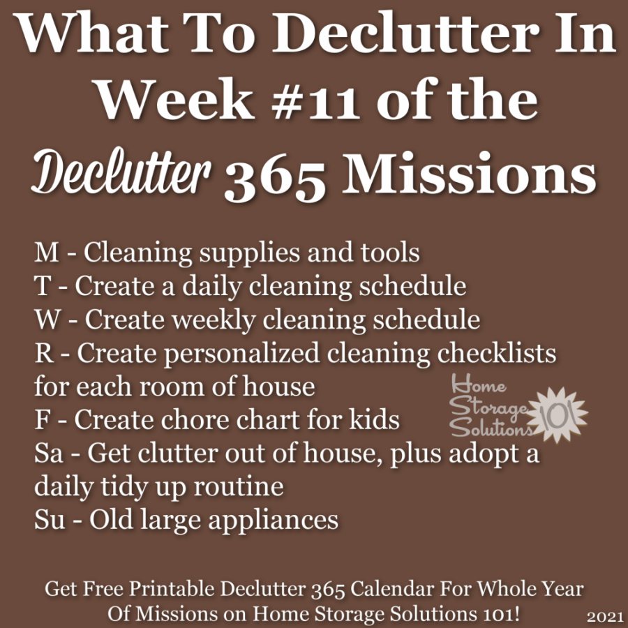 What to declutter in week #11 of the Declutter 365 missions {get a free printable Declutter 365 calendar for a whole year of missions on Home Storage Solutions 101!}