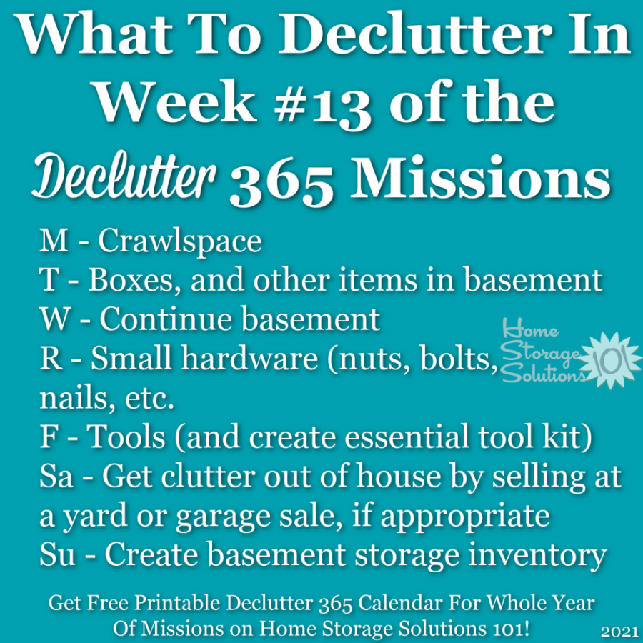 What to declutter in week #13 of the Declutter 365 missions {get a free printable Declutter 365 calendar for a whole year of missions on Home Storage Solutions 101!}