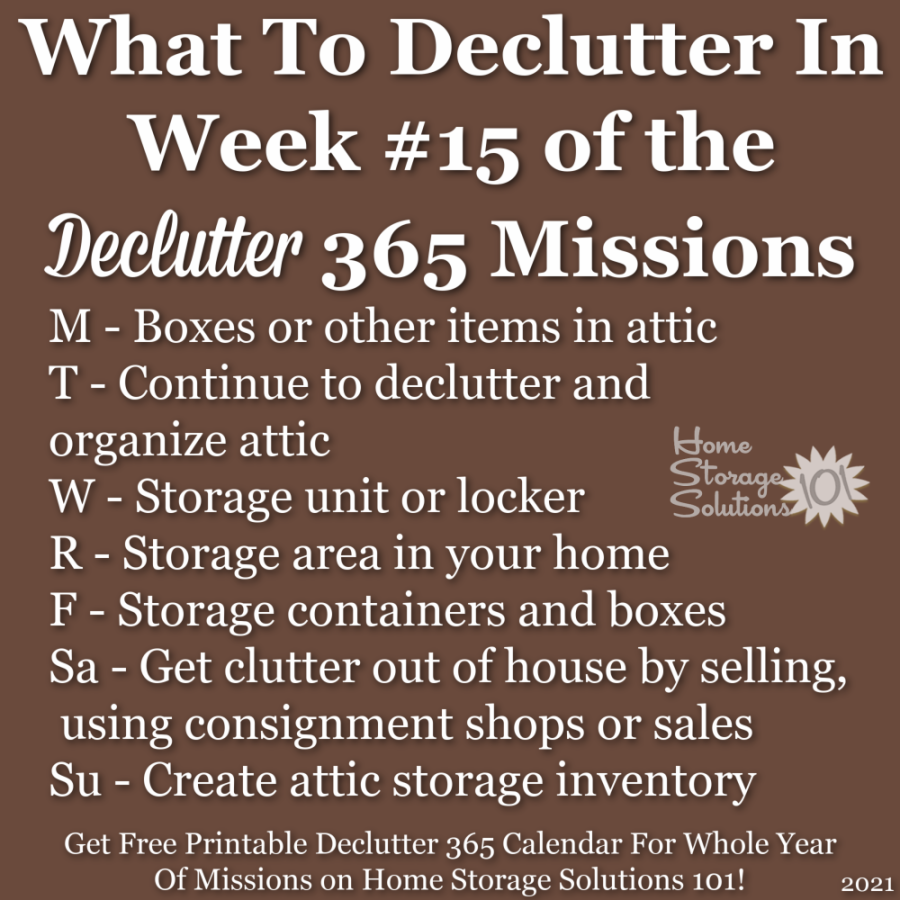 What to declutter in week #15 of the Declutter 365 missions {get a free printable Declutter 365 calendar for a whole year of missions on Home Storage Solutions 101!}