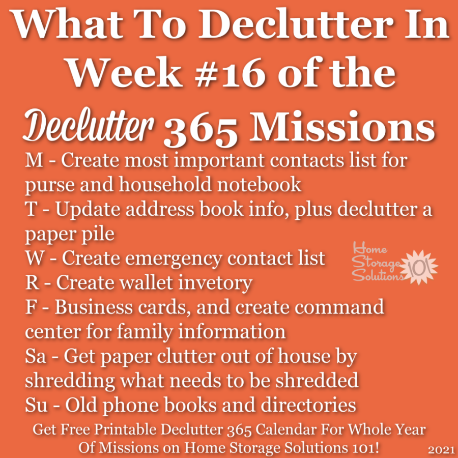 What to declutter in week #16 of the Declutter 365 missions {get a free printable Declutter 365 calendar for a whole year of missions on Home Storage Solutions 101!}