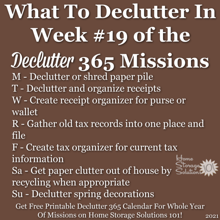 What to declutter in week #19 of the Declutter 365 missions {get a free printable Declutter 365 calendar for a whole year of missions on Home Storage Solutions 101!}
